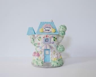 Candy Shop Light Up House, Ceramic Village Treehouse, Kids' Night Light, Pastel Decor