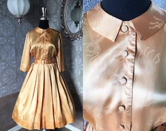 Vintage 1950's Gold Satin Dress with Horse Novelty Print Medium
