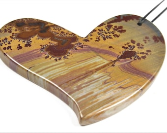 Beautiful Wonderstone Rhyolite Big Heart Pendant - 52mm x 26mm x 4.9mm - B6818