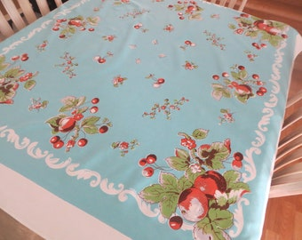 Bucilla Hand Print Cotton Tablecloth Cherry Tree Floral Tablecloth Pink Tablecloth Cottage Tablecloth Blue and Red Table Cover