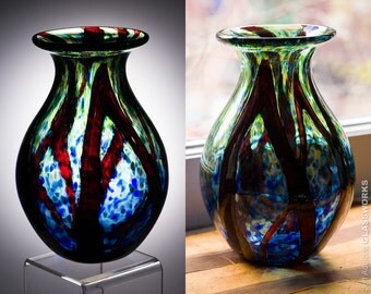 Hand Blown Glass Vase - Green and Blue with Ruby Strokes
