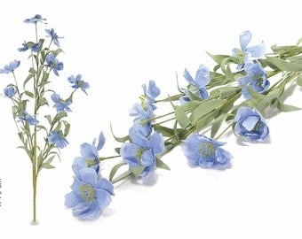 Blue Artificial Flowers 8 Branches