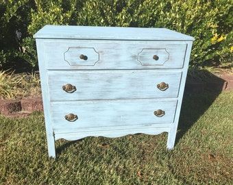 SOLD ** Vintage Chic Cottage Blue Dresser