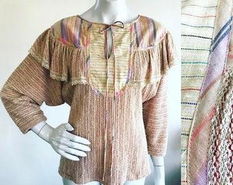 1970s Rainbow Ikat Oatmeal Knit Boho Ruffle Lace Dolman Sleeve Blouse