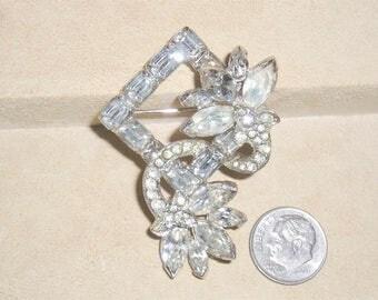 Vintage Signed Eisenberg Rhinestone Brooch Rhodium Plated 1940's Jewelry 6048