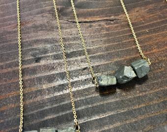 Handmade Pyrite Gold Brass necklace