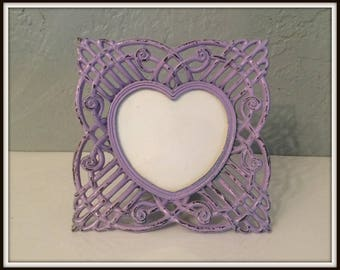 """Upcycled Vintage Ornate Metal Picture Frame ~ Light Purple Distressed ~ 3""""x3"""" ~ Shabby Chic ~ Distressed ~ Paris Apartment ~ Country Cottage"""
