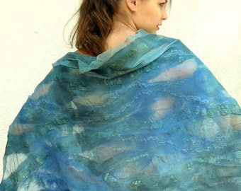 OOAK Hand felted silk - wool scarf / Stole - turquoise, green and blue - Nuno Felt