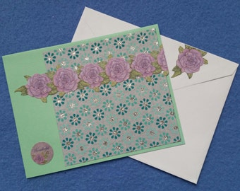 Wonderful Blank Greeting Card - mint green, purple, and grey with recycled handmade paper and glitter accents