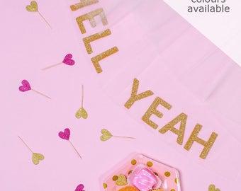 Custom Glitter Slogan Veil