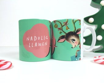 Nadolig Llawen Welsh Text Reindeer Merry Christmas Blue Green Ceramic Mug 11oz