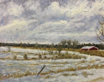 "Original Impressionist Oil Painting by Michigan Artist 11x14 ""Dead of Winter"""