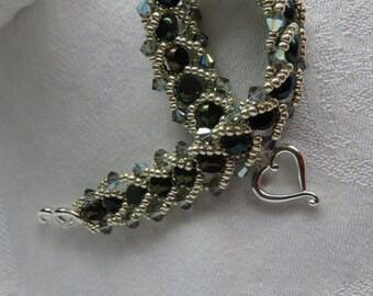 Black and Silver Bracelet, Swarovski Sparkle, Beadwoven Bracelet, Black Diamond Crystals