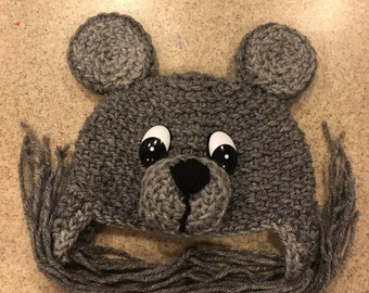 Crochet Bear Hat in Shades of Gray