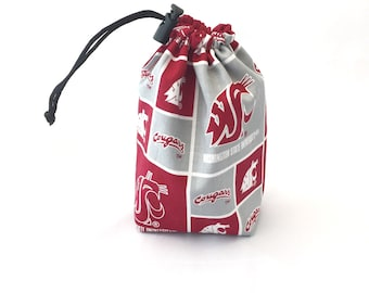 WSU Cougs, Dice Bag, Draw String Bag, Free Standing, Revisable, Gamer Bag, D&D Dice Bag, Makeup Bag, Small Gift Bag, Pouch, RTS