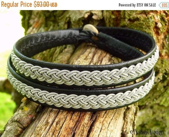 Sami Bracelet ASGARD Leather Wrap Bracelet in Black Reindeer Leather and Braided Pewter Wire - Handcrafted Nordic Tribal Elegance