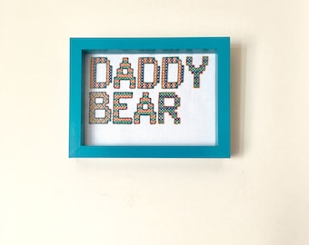 Daddy Bear Cross Stitch // Framed