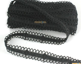 Terylene Lace Trim Black Lace Trim Floral Lace Ribbon 1.5cm Width -- 5 Yards (LACE545)