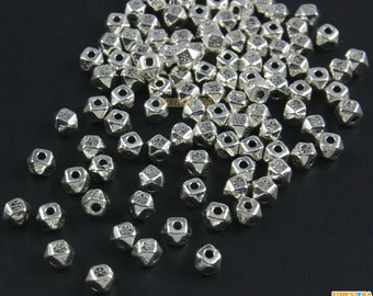 200Pcs Antique Silver Bead Spacer Polygonal Bead Spacer For Jewerly 3x4mm (PND1468)
