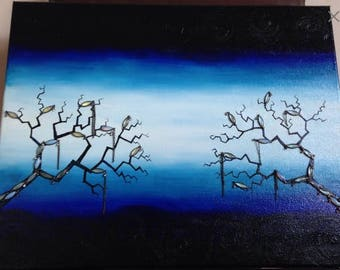 Bejeweled Gothic Tree Oil Painting