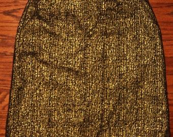 1990s Vintage Tucker Gold Metallic Mini Skirt