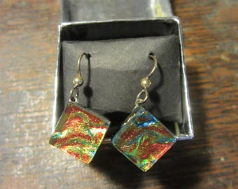 Satori Fire Glass Handcrafted Rainbow Colored Sterling Silver Diamond Shaped Earrings