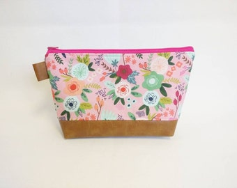 Pink floral makeup bag with cognac brown faux leather