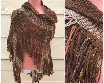 Raw woven 70s boho fall brown and tan plaid woven shawl.