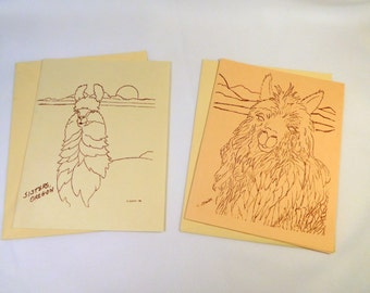 Vintage ALPACA LLAMA Two 2 Blank Notecards with Envelopes / Sisters, OREGON Artist Signed C. Stark - 1988