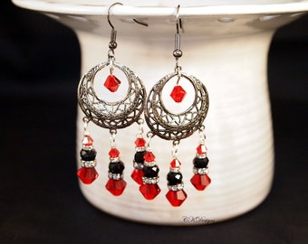 Red and Black Gun Metal Earrings Red and Black Chandelier Pierced or Clip on Earrings Hippie Chic  Earrings Vintage Inspired Gothic Earrings
