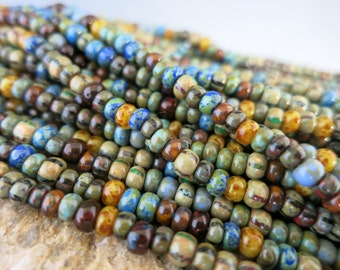 6/0 Caribbean Picasso Seed Bead Mix, Full Strand 200 Beads, Czech Glass Seed Beads, #M21215