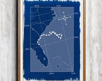 Hurricane Julia 2016 Track Map A4 Hand coated traditionally made cyanotype