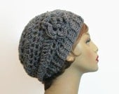 Gray Slouchy Hat With Flower Crochet Gray  Beanie Gray Crochet Cap Slouchy Beanie Gray Tweed Beret Charcoal Gray Hat Crochet Beanie Knit Tam