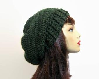 Green Slouch Beanie Green Crochet Slouchy Hat  Dark Green Beanie Green Crochet Beanie Forest Green Slouchy Beret Green slouch Tam knit hat