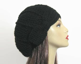 Black Slouch Beanie Black Crochet Hat with Bow Black crochet cap with Bow Black Slouch Hat Black Slouch Tam Beret with Bow Black Crochet Cap