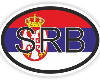 Serbia SRB Country Code Oval Sticker with Flag for Bumper Laptop Book Fridge Motorcycle Helmet ToolBox Door Hard Hat Tool Box Locker Truck