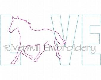 Raggy Applique Horse Love Machine Embroidery Design - 4 Sizes