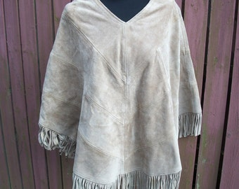 Suede Poncho-Brown Vintage Leather with Fringe-Hippie Gypsy Clothing-One Size fits Most