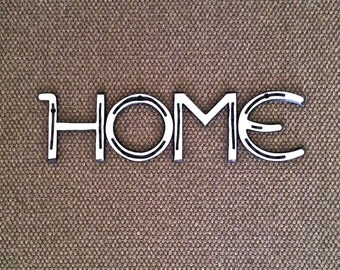 HOME spelled with steel horseshoes, hang on wall, matched screws. Housewarming gift. Great craft project