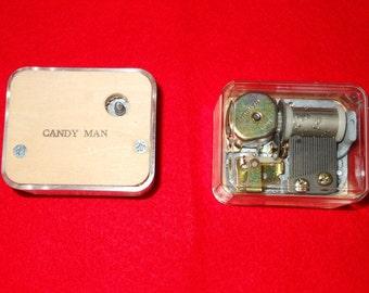 Vintage Sankyo Key Wind Music Box Movement Plays Candy Man - DIY Christmas Supply - Holiday Supply - DIY Music Box