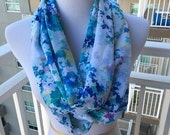 Water Color Floral Chiffon Infinity Scarf