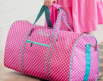 Personalized Duffel Bag ~ Girls Monogrammed Travel Bag ~ Monogrammed Dottie Duffel Bag ~ FREE Personalization ~ Quick shipping!
