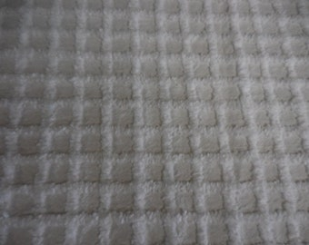 "WHITE on White 3/4"" SQUARES Vintage Chenille Bedspread Fabric - 21+"" X 35"" - #2"