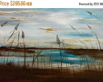 SALE XL ORIGINAL  Marsh scene with sea oats Abstract  gallery Contemporary Modern Florida Winter Marsh Oil painting by Nicolette Vaughan Hor