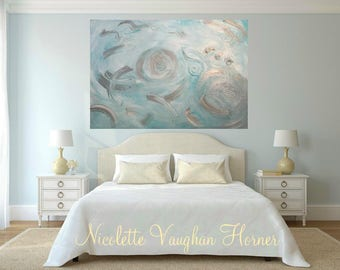 """Enormous 48""""x36"""" Oil Abstract Original Modern palette knife """"Tranquil Days""""  impasto oil painting by Nicolette Vaughan Horner"""