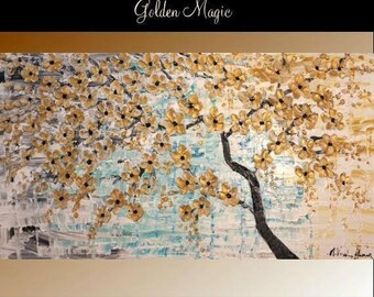 """SALE 60"""" Oil Landscape painting Abstract Original Modern palette knife  Cherry Blossom Tree oil  impasto oil painting by Nicolette Vaughan H"""