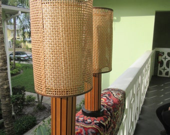 MADE In THE SHADE / Mid Century Hans Wegner Lamps With Fabulous Pristine Woven Shades / Mid Century
