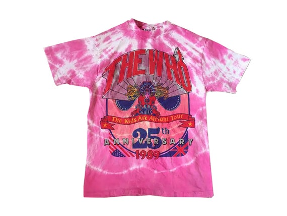 THE WHO Pink Tie Dye 1989 80's Tour Hippie Stoner Rock COncert Tee