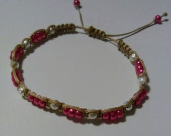 Macrame Shamballa adjustable bracelet-metallic pink and silver with tan waxed polyester cord.