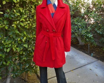 Vintage 1970's Red Trench Style Coat - Size 8/10